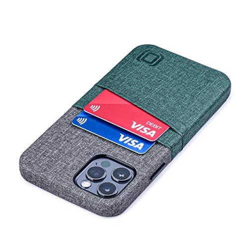 Dockem Luxe M2 Funda Cartera para iPhone 12 y iPhone 12 Pro: Funda Tarjetero Slim con Placa de Metal Integrada para Soporte Magnético: [Verde y Gris]