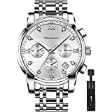 OLEVS Men's Waterproof Watches Silver Stainless Steel Waterproof Chronograph Wrist Watches Luxury Dress White Luminous Big Face Analog Quartz Male Watches