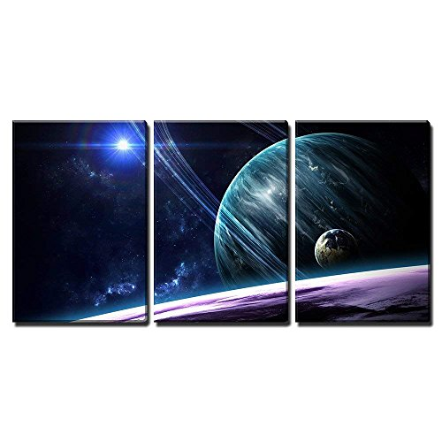 wall26 - Planets in Outer Space - Canvas Art Wall Art - 16'x24'x3 Panels