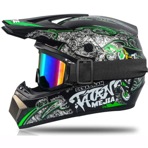 STKK Casco de moto para niños, cascos y guantes para niños y gafas para niños, casco integral desmontable (verde, S)