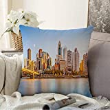 Starohou Pillow Cases for Bed Bedding Decoration Long Exposure Downtown Waterfront River Pittsburg Skyline Roberto Landmarks On Us Business Finance Cozy Pillowcase Soft Decorative Cover 16x16 Inch