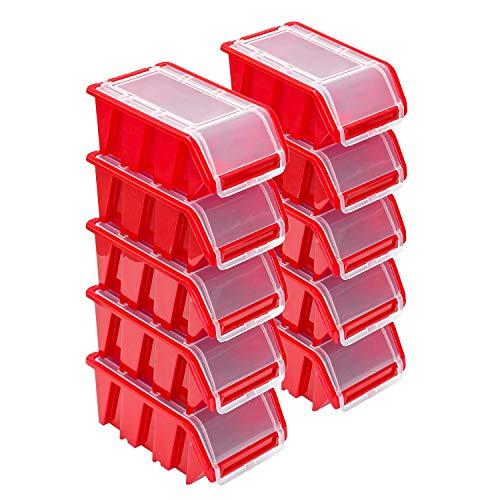 Stapelboxen Set – 10x Stapelbox mit Deckel 155x100x70 mm – Sichtbox Stapelbox Lagerbox, Rot