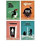Affiche de Film Minimaliste Stanley Kubrick, 4 Affiches, Full Metal Jacket, The Shining, 2001 A Space Odyssey, A Clockwork Orange, Artwork Print, Unframed Print