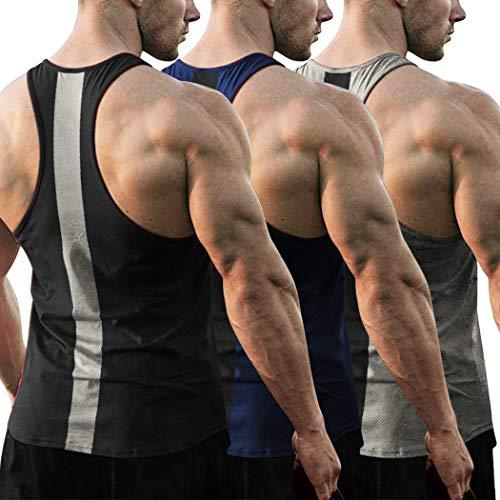 JINIDU Lot de 3 débardeurs d'entraînement pour homme...