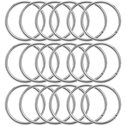fanshiontide 100 Pcs 25mm Diameter Key-Ring Sliver Stainless Steel Rings Craft Split Rings for Office Home Keys Organization and Car Home Keys Attachment