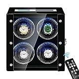 XIUWOUG Expositor automático para relojes con 4 pantallas LCD, pantalla táctil, control remoto, retroiluminación LED, cojín ajustable, motor silencioso (color: negro)