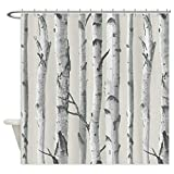 SZZWY Birch Tree Background Pattern Shower Curtain 3D Printing Waterproof Coated Polyester Fabric Bathroom with 12 Hooks 71 inches