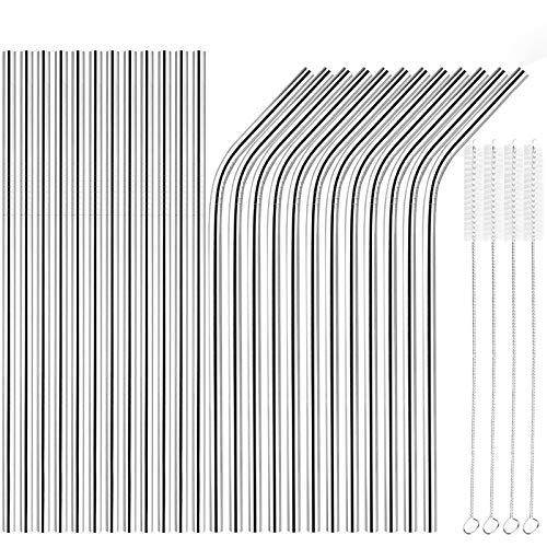 [24 PCS] Extra Long 10.4 inch Value Pack Reusable Stainless Steel Straws Combinations, Tomorotec Metal Straw Sets with Cleaning Brushes, 12 Straight 12 Bent For Tumblers Beverage Drinks Cocktail