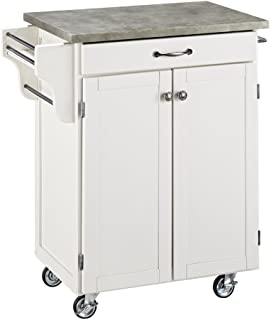 Create-a-Cart White 2 Door Cabinet Kitchen Cart with Concrete Top by Home Styles