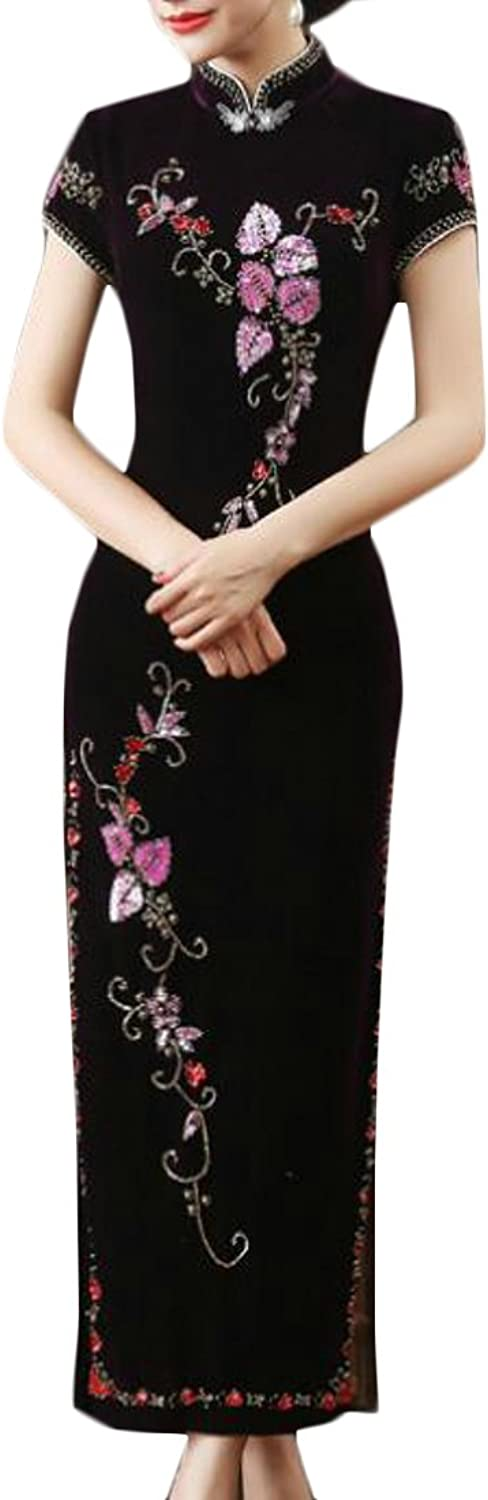 Pandapang Womens Velvet Print Short Sleeve Dress Long Cheongsam Qipao