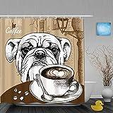 ShopHM Duschvorhang,Brown Bulldog Cup Kaffee H& Tiere Old Cappuccino Wildlife Food Drink Restaurant Hot Bean Frühstück,Stoff Badezimmer Dekor Set mit Kunststoffhaken, enthalten - 180x180cm