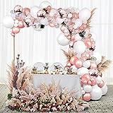 Unisun Juego de 102 globos para guirnaldas, color oro rosa, blanco, con forma de globo, con punta de pegamento para bodas, cumpleaños, baby shower, novia, fiesta, suministros