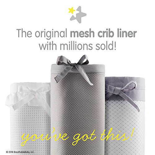 BreathableBaby Classic Breathable Mesh Crib Liner - Gray Clover
