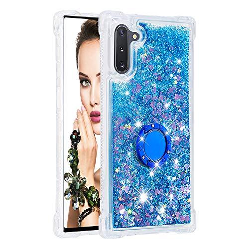 Coque pour Samsung Galaxy Note10/Note10 5G,Brillante Cristal Diamant Anneau Socle de téléphone Liquide Dégradé Transparente Silicone TPU Étui Antichoc Coques(Amour Bleu)
