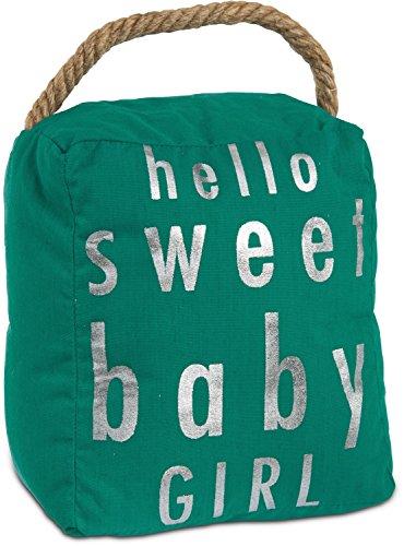 Pavilion Gift Company Open Door Decor–Hello Sweet Baby Girl Room Decor Azul Turquesa y Plata Tope para Puerta con Mango