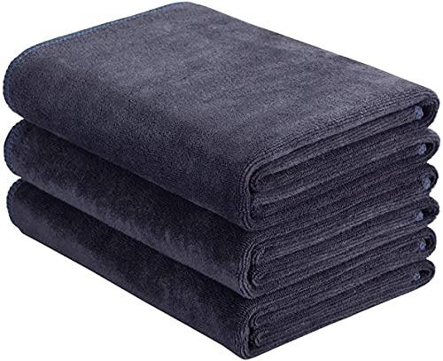 Toallas deportivas de microfibra de secado rápido, absorbentes para entrenamiento, para gimnasio, fitness, yoga, camping, viajes, paquete de 3 unidades, 40 cm x 80 cm gris
