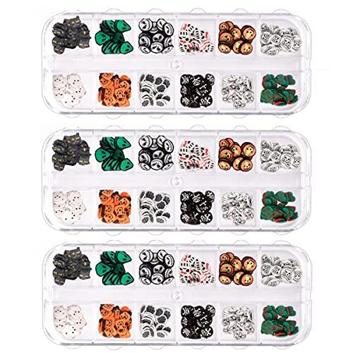 Juego de calcomanías para uñas de Halloween, 3D Kawaii, diseño de calavera de calabaza, murciélago fantasma, pegatinas de uñas de miedo, autoadhesivas, consejos de manicura (3 cajas)