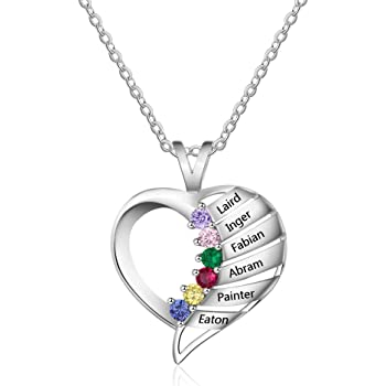 SADNESS N Customize Name Necklace Tree of Life Pattern Pendant with Birthstones for Mother