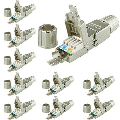 AIXONTEC 10 Stück Cat.6A LAN Netzwerk Verbindungsmodul Koppler LSA Adapter für Cat.7 LAN Ethernet Kabel geschirmt Netzwerk Verbinder mit metallischer Kabelverschraubung geeignet für CAT 6 cat. 6a