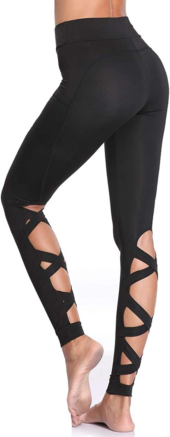 Joyshaper Cutout Leggings with Pockets for Women Girls Skinny Yoga Pants Runing Jogger Active Tight