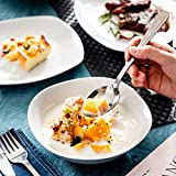 MALACASA, Serie Elisa, 48 TLG. Porzellan Tafelservice Kombiservice Geschirrset, 12 Dessertteller, 12 Suppenteller, 12 Flachteller und 12 MüsliSchäle für 12 Personen - 3
