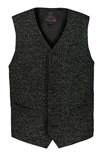 JP 1880 Herren große Größen bis 7XL, Strick-Weste, lässig und gepflegt, Klassische Optik, V-Ausschnitt, Spitzen Saum, schwarz 66 720241 10-66