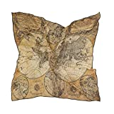 Alarge - Bufanda cuadrada de seda, diseño de mapa del mundo, protector solar, ligero, suave, pañuelo para mujer, chal