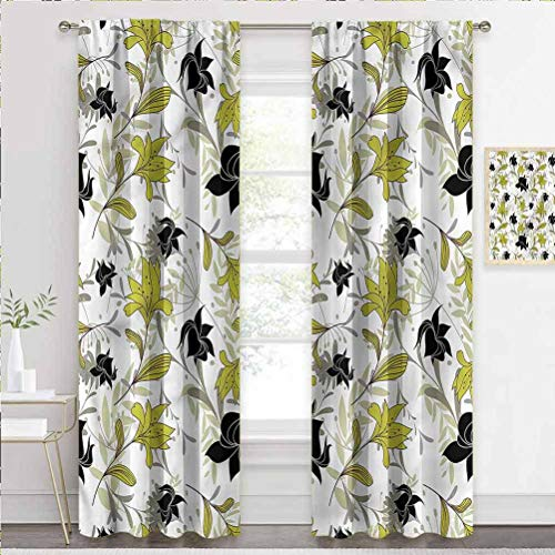 painting-home Grommet Window Curtain Floral, Exotic Plants with Flowers Sliding Glass Door Drapes Makes The Room More Welcoming W63 x L45 Inch