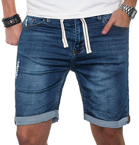 Sublevel Herren Jeans Short Kurze Hose Bermuda Sommer Sweathose Slim Mix [B212 - Blau - W33]