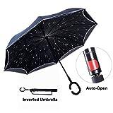 Paraguas Invertido con Tira Reflectora de Luz, Paraguas Reversible para Autos de Doble Capa, TravelEase Paraguas Autoabrible y Autolevantado con Mango en Forma de C (Blue Daisy)