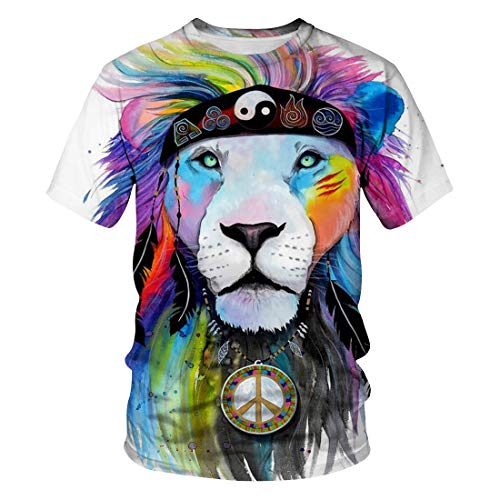 3D Lion Digital Gedruckte T-Shirt Mode Herren Plus Size Casual Kurzarm