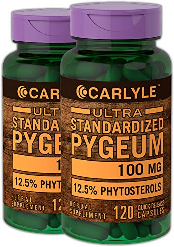 Carlyle Pygeum Standardized 100 mg 240 Capsules | Non-GMO & Gluten Free | Prostate Support, Urinary Tract Health | Pygeum Africanum Bark Extract Supplement