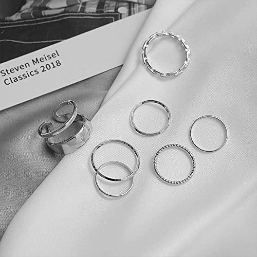 ZNYD Juego de Anillos de la Junta de Moda Geométrico Twist Minimalist Jewelry Metal Circular Anillo de Oro para Las Mujeres Accesorios de Baile de la Calle (Color : Platinum)