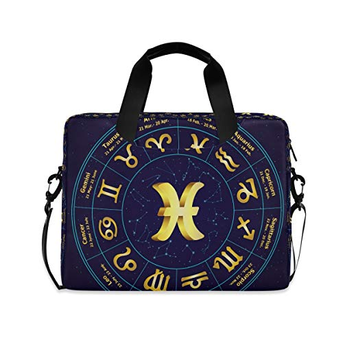 Gold Zodiac Blue Circle Laptop Shoulder Bag Notebook Computer Handbag Sleeve Table Carrying Case Messenger Bags Fits 15.4 in for Youth Men Women