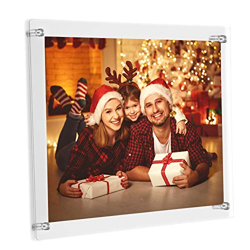 ONE WALL 8.5x11 Acrylic Floating Frame Clear Wall Mount Picture Frame with Hanger Holds A4 Letter Size Photo for Document Certificate Sign Display - Full Frame 9.4x13.4 inch
