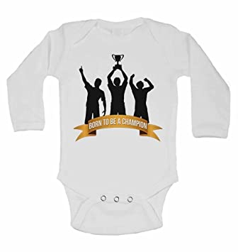 Born To Be A Champion Personalised Long Sleeve Baby Vests Bodysuits Baby Grows For Boys Girls White 0 3 Months Baby
