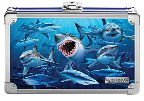 Vaultz Locking Supplies & Pencil Box with Key Lock, 5'x 2.5'x 8.5', Embossed Sharks (VZ03601)