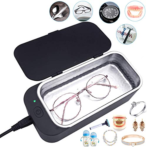 Professional Ultrasonic Jewelry Cleaner, Ultrasonic Glasses Cleaner, Ultrasonic Denture Cleaner, Ultrasonic Cleaner Machine for Rings Watches Eyeglasses Denture Coins Razors Brushes