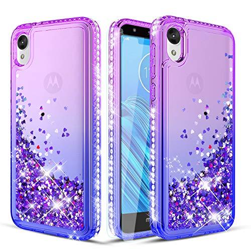 Wallme Moto E6 Case,Moto E 6th Gen Case with HD Screen Protector[2 Pack],Glitter Diamond Hearts Flowing Sparkle Bing Girls/Women Protective Phone Case for Motorola Moto E6(Purple/Blue)
