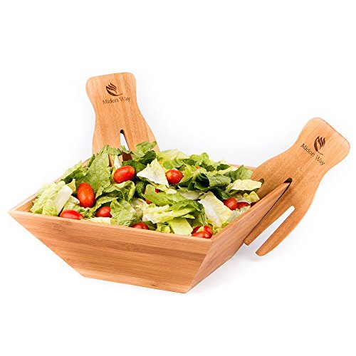 Wood Salad Bowl Set With Bamboo Servers, Best For Serving Salad, Pasta, and Fruit. Beautiful Bowl Looks Great On Your Kitchen Counter.