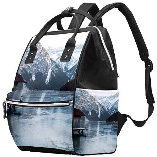Laptop Backpack Waterproof Diaper Bag Nursing Bag Travel Nappy Tote Bags Multi-Function School Business Daypack Doctor Bag - Chalet Dock Snow Mountain
