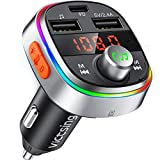 VicTsing FM Transmitter, PD3.0 Quick Charge, Bluetooth V5.0, 7 Color LED Ambient Light