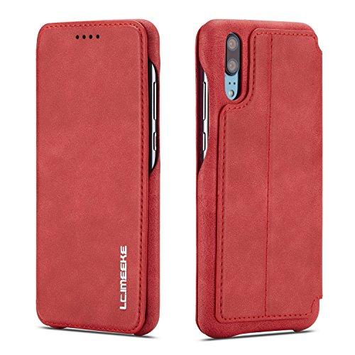 QLTYPRI Huawei P20 Hülle, Premium PU Leder Handyhülle Ultra Dünne Ledertasche Magnetverschluss Standfunktion und Kartenfach Wallet Hülle Flip Schutzhülle für Huawei P20 - Rot