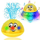 Eutreec Bath Toy, 2 in 1 Squirt Spray Water Toy LED Light Up Float Toys Automatic Induction Sprinkler Space UFO Car Toys for Baby Toddler Infant Kids Bathtub Shower Pool…