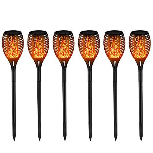 6x Solar Flammenlicht Solar Gartenleuchten 96 Led Solarlampe Garten fackeln IP65 für Garten Beleuchtung mit realistischen Flammen Automatische EIN/Aus Außen warmlicht