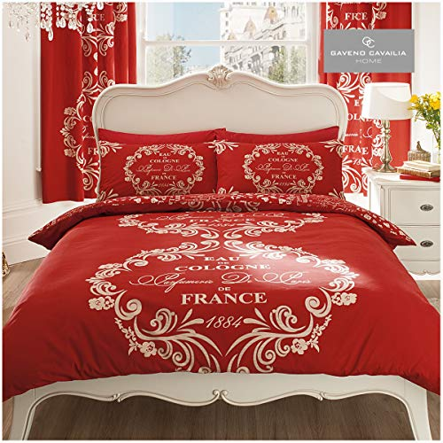 Gaveno Cavailia Luxurious SCRIPT PARIS Bed Set With Duvet Cover and Pillow Case, Polyester-Cotton, Red , Double