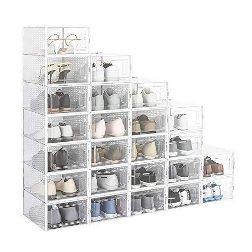 Crestlive Products 24 Pack Shoe Storage Box Plastic Foldable Shoe Box Stackable Clear Shoe Organizer MediumWhite