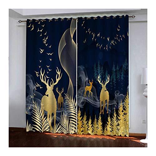 KnSam – 2 cortinas de poliéster 98% de luz, con ojales, 274 x 244 cm, color negro y dorado