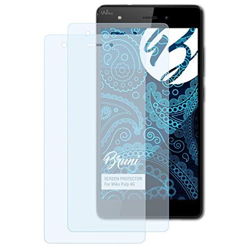 Bruni Schutzfolie kompatibel mit Wiko Pulp 4G Folie, glasklare Bildschirmschutzfolie (2X)