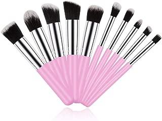 Make Up Brush, 10 Piece Soft Pink Makeup Brushes Set Portable Kabuki Liquid Cream Brushes with Cruelty-Free Synthetic Fiber Bristles Beauty Tools